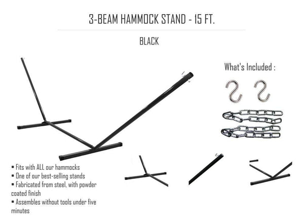 3-BEAM HAMMOCK STAND - 15 FT.