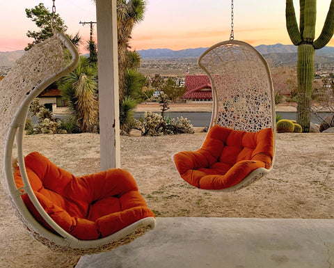 Orange outdoor hanging chairs in front of cactuses the desert
