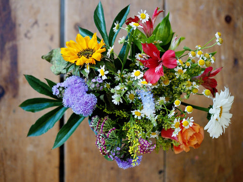 Colourful bouquet of flowers on a table