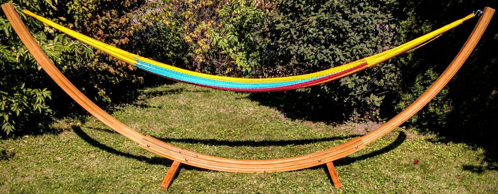 XL thick cord Mayan hammock with eco-friendly bamboo stand