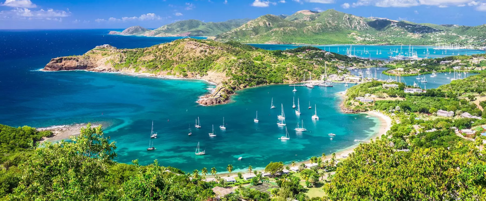 Antigua view of harbor and islands