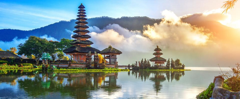 Bali view of temples on water