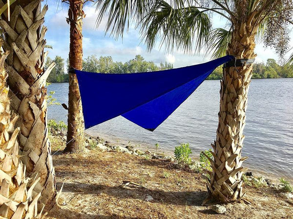 Hammock Universe hammock rain fly product in blue.