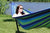 Brazilian double hammock green and blue with universal stand