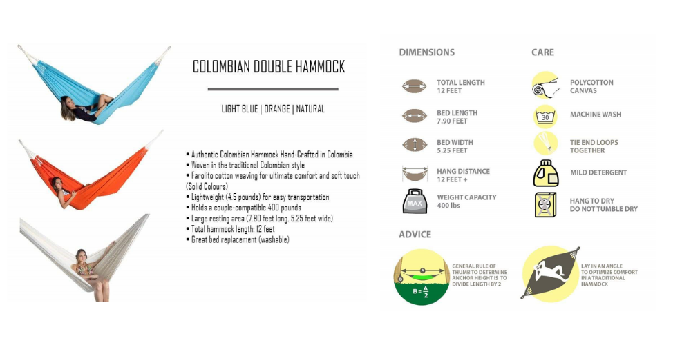 Colombian double hammock specs, features, care