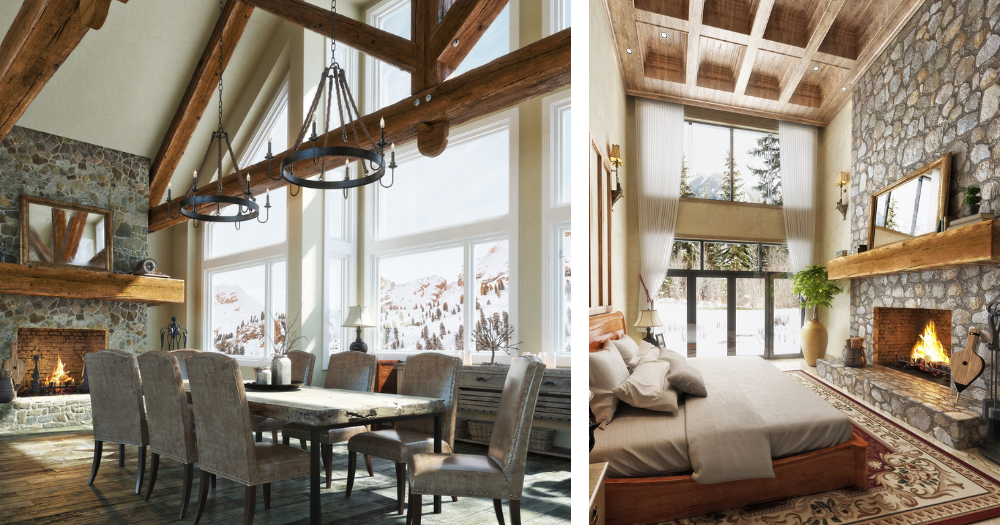 two image of large rooms with floor to ceiling windows