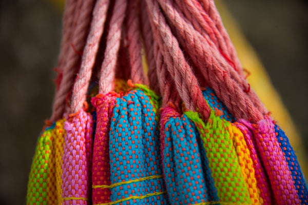 Close-up shot of colourful Mayan hammock.