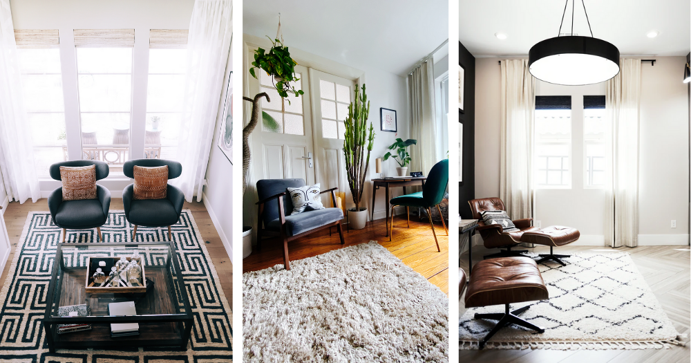 three images of rooms with large rugs