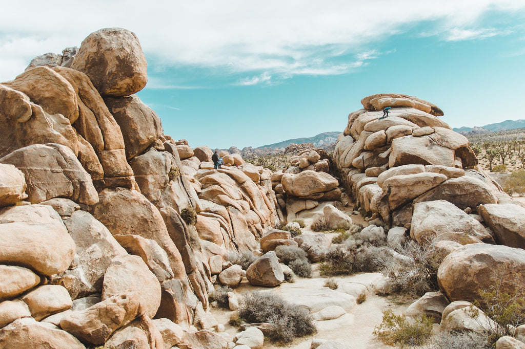 Groups of people standing on rock formation under cloudy sky in Joshua Tree National Park.
