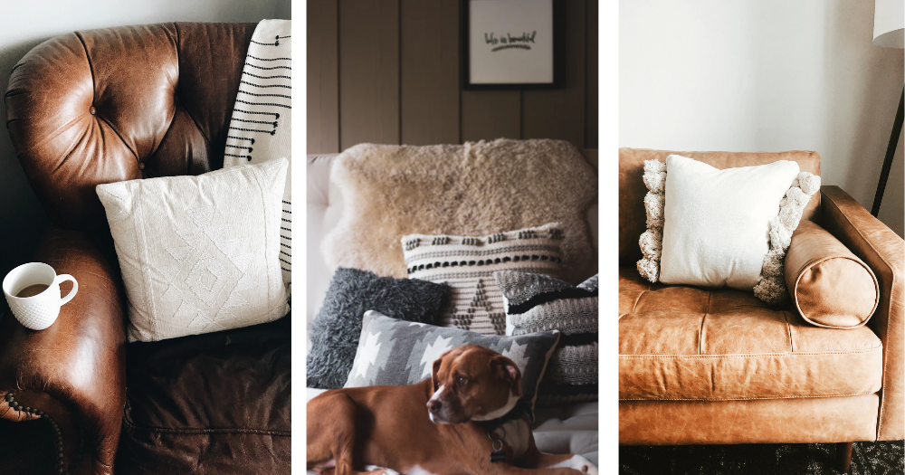 three images of large cozy pillows