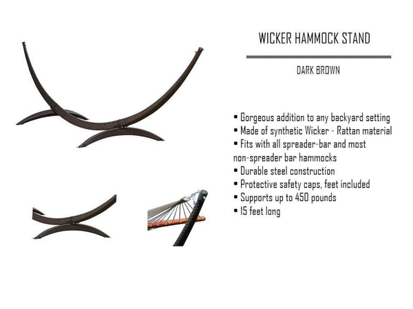 wicker hammock stand with detailed information