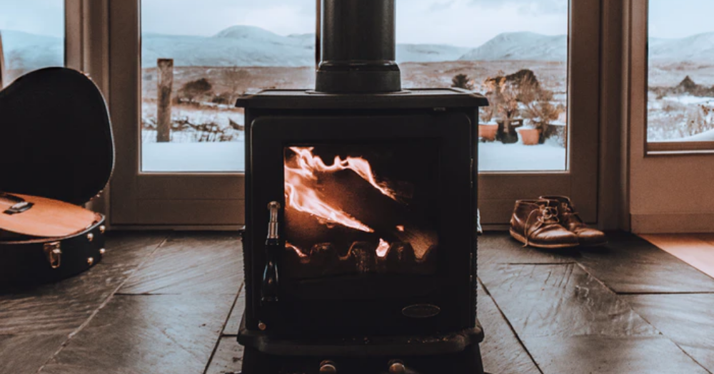 wood stove fireplace in the living room