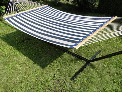 Poolside Hammock - Double | Hammock Universe Canada bleu and white stripes