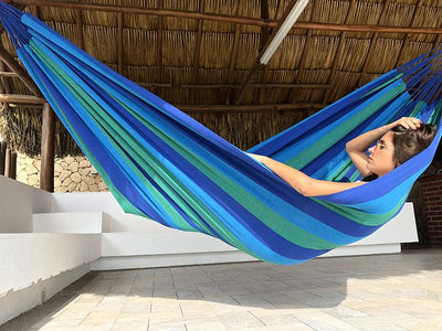 Brazilian Double Hammock green and blue stripes with woman
