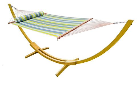 Deluxe Quilted Hammock with Bamboo Stand