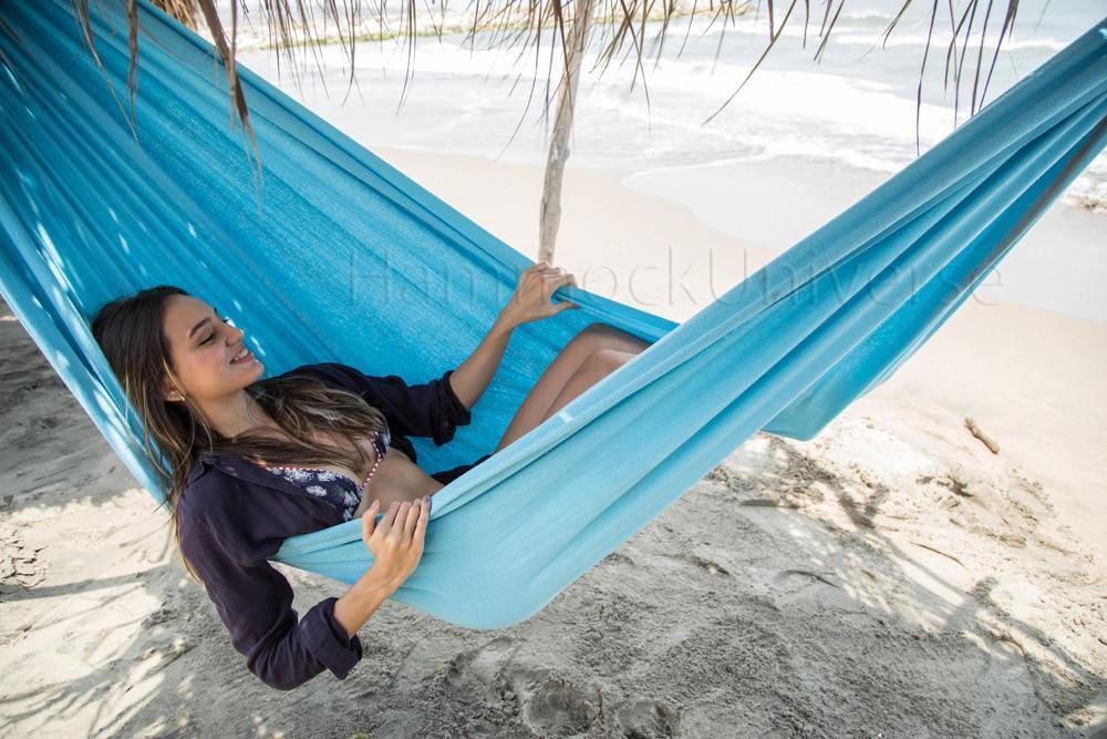 Hammock Universe Canada Colombian Double Hammock with Bamboo Stand Light Blue 738447505344 CO-GIADA+BHS-C
