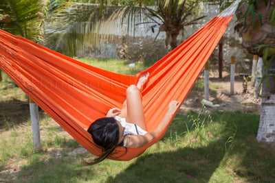 Hammock Universe Canada Colombian Double Hammock with Bamboo Stand Orange 738447505351 CO-ARANCIO+BHS-C