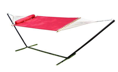 Hammock Universe Canada Olefin Double Quilted Hammock with Matching Pillow with 3-Beam Stand