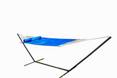Olefin Double Quilted Hammock with Matching Pillow with 3-Beam Stand - Hammock Universe Canada