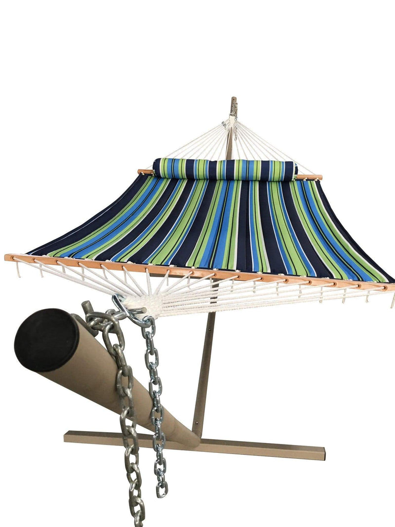 quilted hammock with bolster pillow 15 feet stand. Black Bedroom Furniture Sets. Home Design Ideas