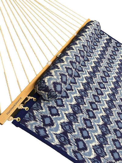 Quilted double hammock blue white patterns closeup