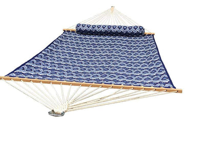Blue white patterns double quilted hammock full