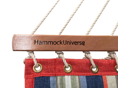 Quilted Hammock with Bolster Pillow + 15 feet Stand | Hammock Universe red grey and blue