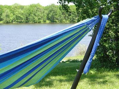 Hammock Universe Universal Hammock Stand | Hammock Universe Canada black with blue and green hammock