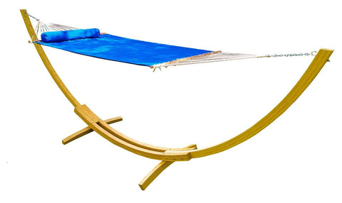 Olefin Double Quilted Hammock with Matching Pillow and Eco-Friendly Bamboo Stand