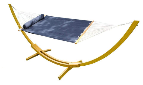 Olefin Double Hammock with Matching Pillow - Quick Dry and Bamboo Stand