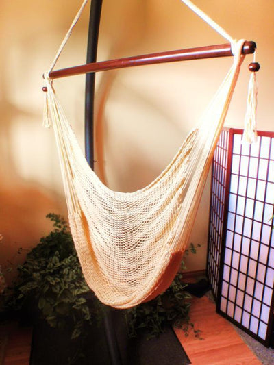 Mayan Hanging Chair Hammock with stand  | Hammock Universe Canada off white