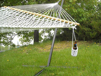 Hammock Drink Holder - Hammock Universe Canada with cotton rope hammock and beer