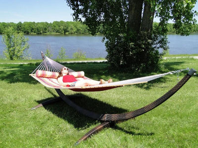 Quilted Hammock with Bolster Pillow + Wicker Stand | Hammock Universe red