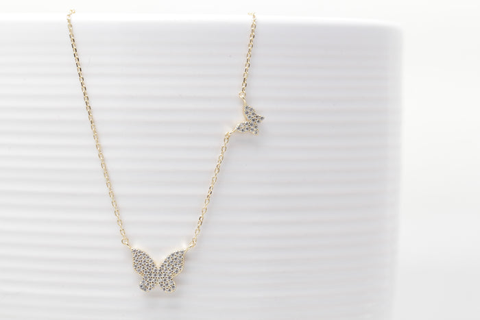 Pave Butterflies Necklace