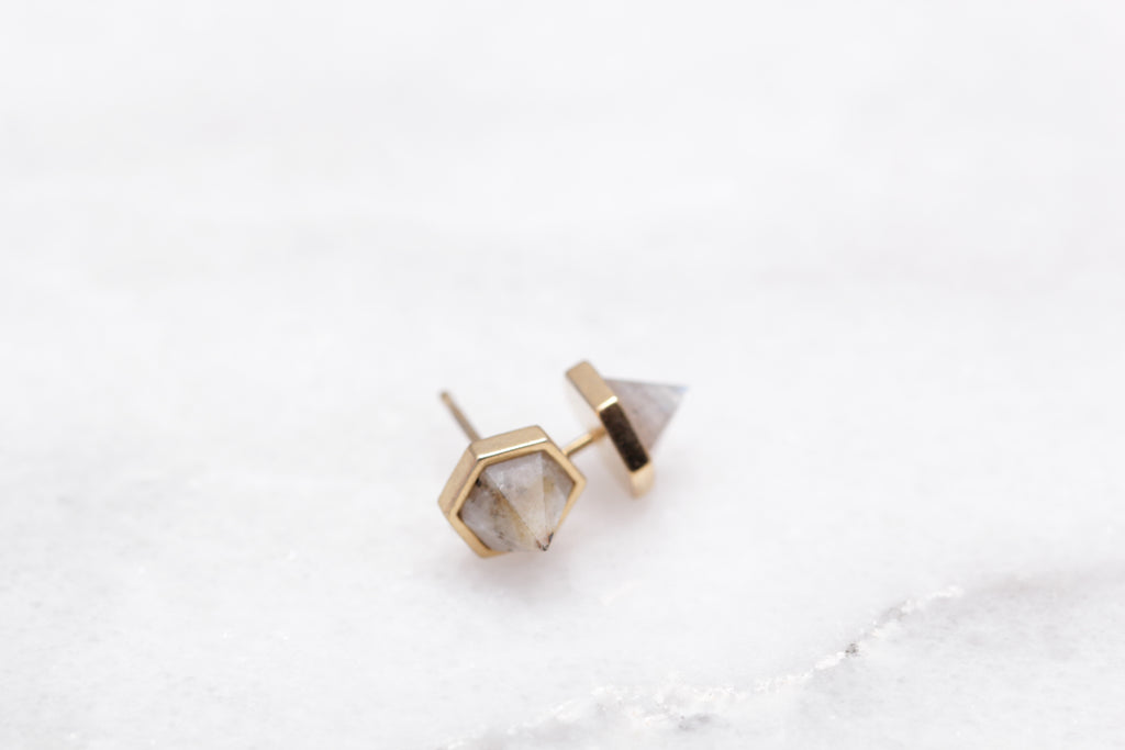 Pyramid Gemstone Studs