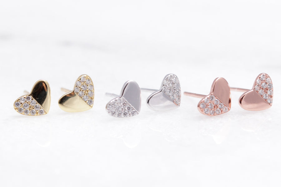 Pave Heart Studs