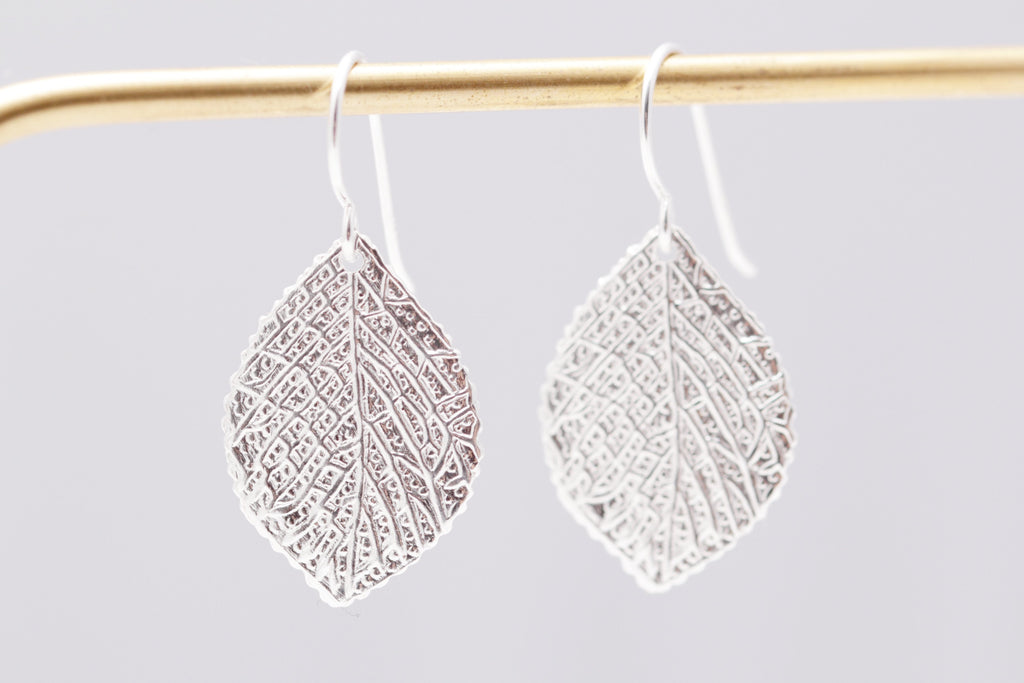 Embossed Leaf Earrings
