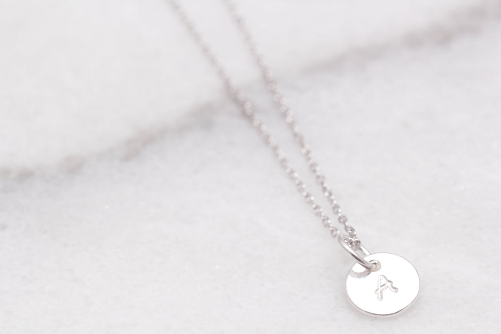Petite Initial Stamped Necklace