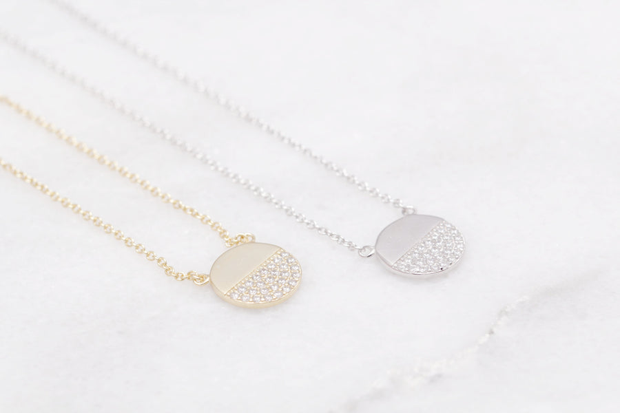 Half Pave Necklace