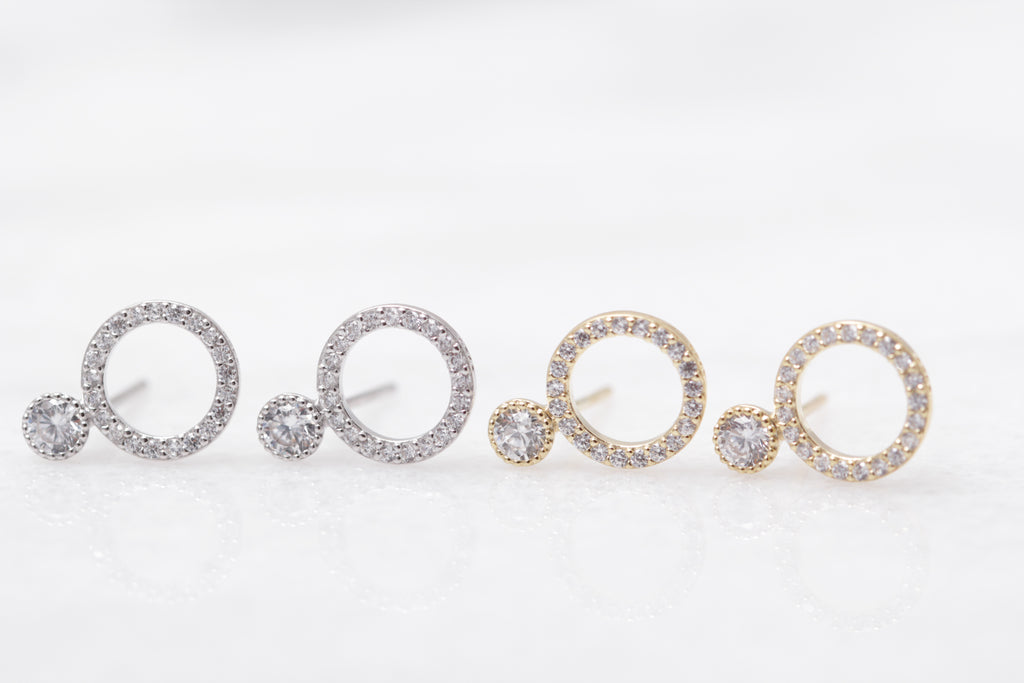 Crystal Point Pave Circle Studs