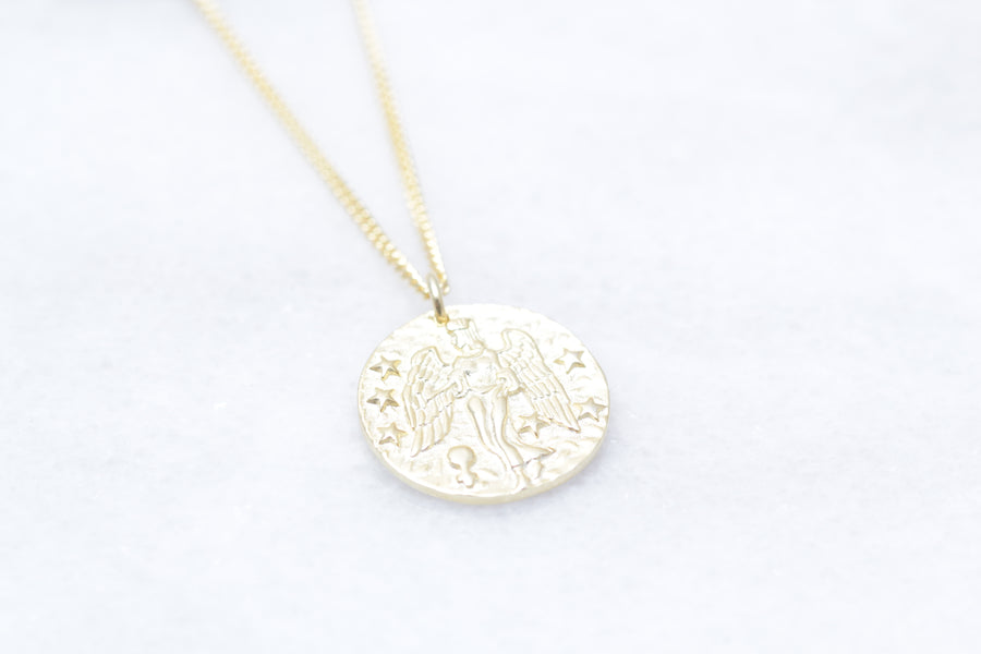 Gold or Silver Angel Coin Necklace