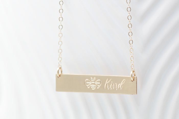"""BEE"" Kind Bar Necklace"