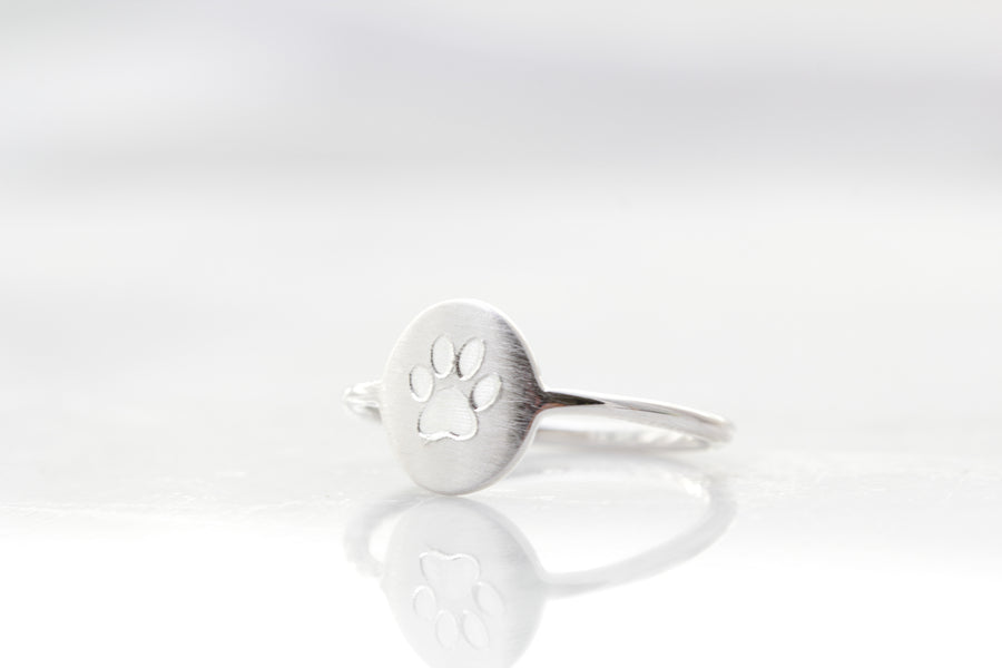 Engraved Paw Ring