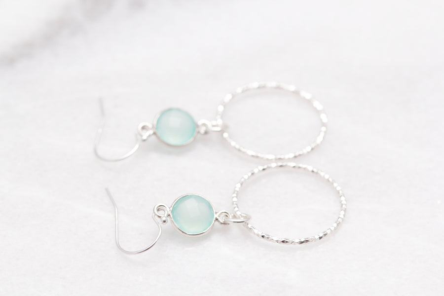 Gemstone Circle Earrings