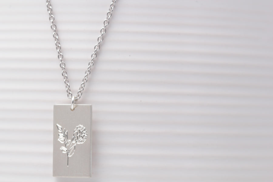 Rectangle Flower Necklace