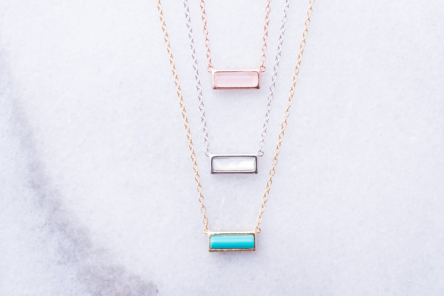 Petite Gemstone Bar Necklace