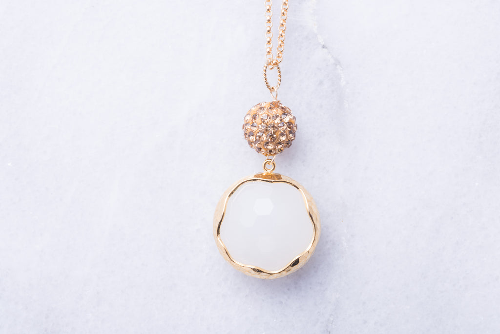 Long Pave Ball Gold Necklace