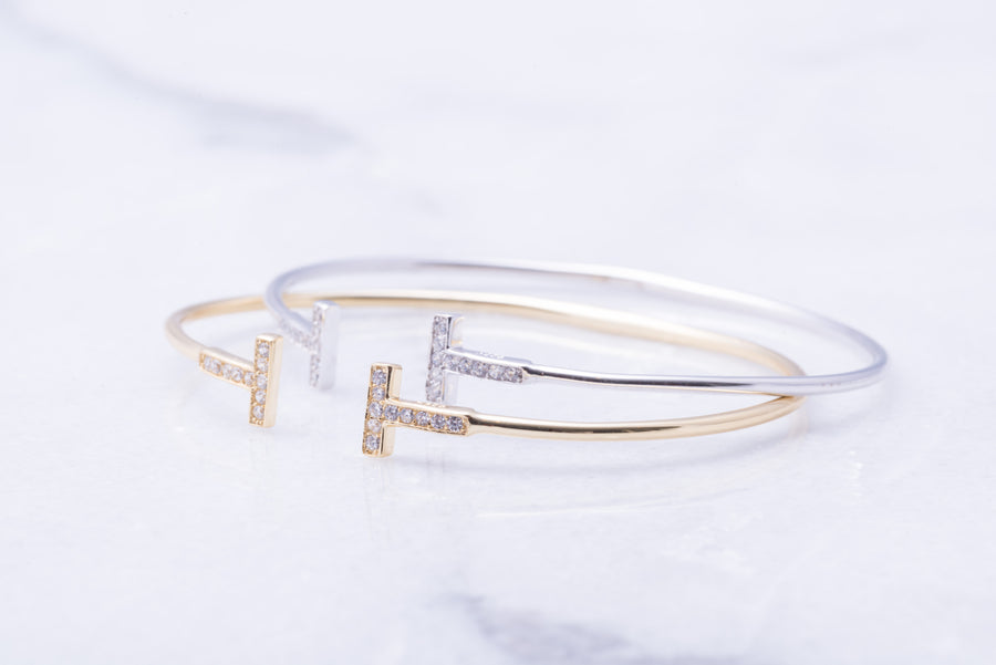 "Crystal ""T"" Bangle"