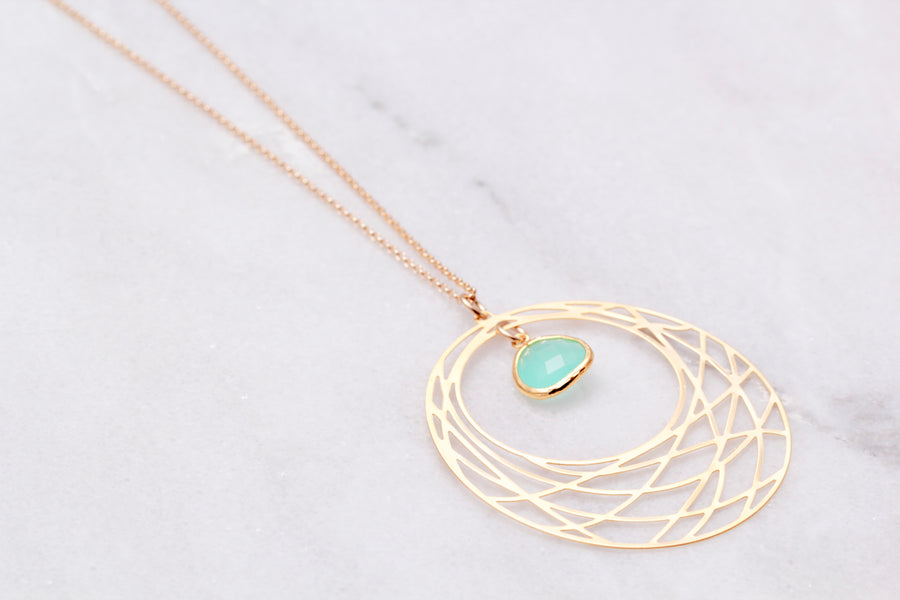 Long Web Circle Necklace