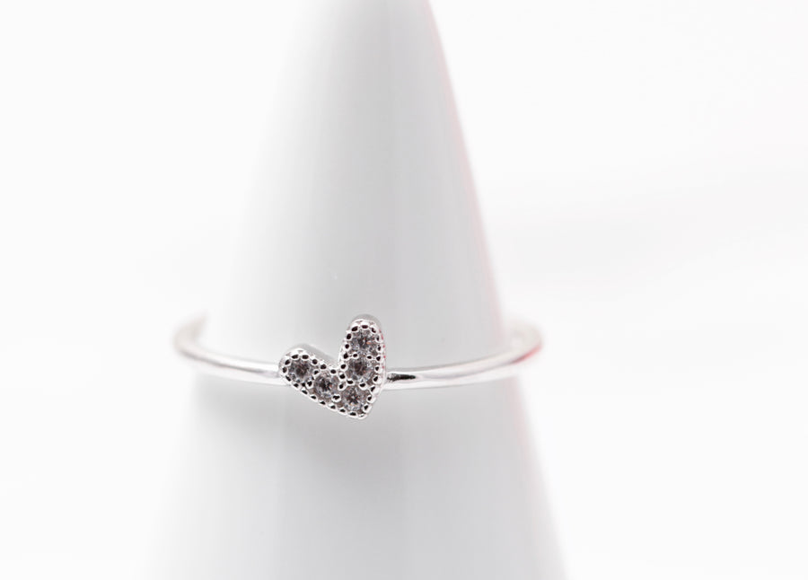 Petite Crystal Heart Ring
